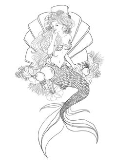 Mermaid von auf DeviantArt - Meerjungfrau von Estás en el lugar correcto para healt Aquí presentamos healthy lunch i - Mermaid Coloring Pages, Fairy Coloring, Colouring Pages, Adult Coloring Pages, Coloring Books, Mermaid Artwork, Mermaid Drawings, Art Drawings, Mermaid Sketch
