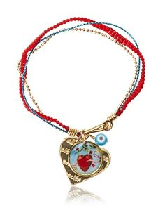 like the mix of cord and chain in this bright bracelet + resin charm by Mercedes Salazar #bracelet #jewelry