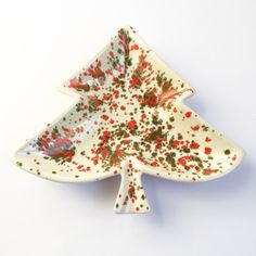 Vintage Tree dish, green, red and white by PowersMod on Etsy