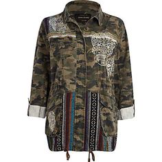 Khaki camo and skull print army jacket - coats / jackets - sale - women