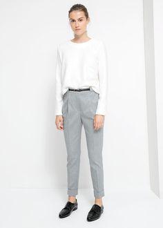 Bird's eye trousers *Mango $69.99 *gunmetal grey