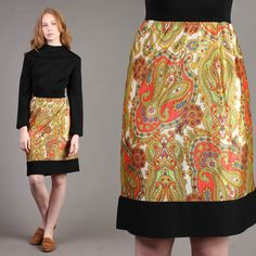 vtg PSYCHEDELIC mod PAISLEY PRINT gold secretary cocktail midi dress 70s L/XL | eBay