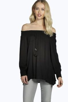 Boutique Sophia Woven Crinkle Off The Shoulder Blouse at boohoo.com