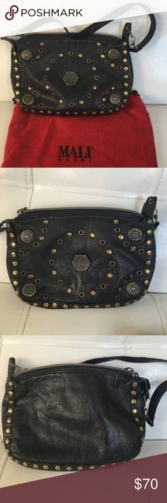 Mali Parmi Black Leather Studded Bag This is such a versatile bag. It is great for Day and evening usage. It really has an awesome rocker vibe! Please note one of the studs are missing I. The front, but it is barely noticeable. Mali Parmi Bags Mini Bags
