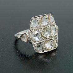 Art Nouveau Holland Cut Diamond & Platinum Ring