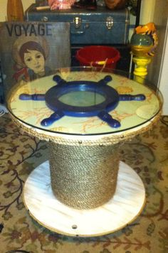 Coastal Living Decor Wood And Glass Brown Ship Wheel Table $139.00 | For  The Home | Pinterest | Ship Wheel, Woods And Kitchens