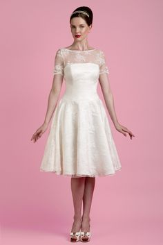 The Briggs Tea Length Wedding Dress - from http://www.tobihannah.co.uk/collections/available-at-stockists/products/the-briggs-tea-length-wedding-dress