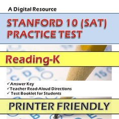 Stanford-10 practice tests in math, reading, language, and environment for KINDERGARTEN through SECOND GRADE are now on SALE. Avail 50% DISCOUNT from January 1 to January 3 only. http://sirarthurdeesonlineteachingresources.com/january-sale--1-3-.htm