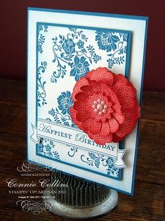 handmade birthday card ... red, white & blue ... Fresh Vintage stamped all over for background ... gorgeous red flower ... die cut layers slightly curled ... pearls at center ... great card ... Stampin' Up!