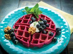 Beet & Blueberry Waffles