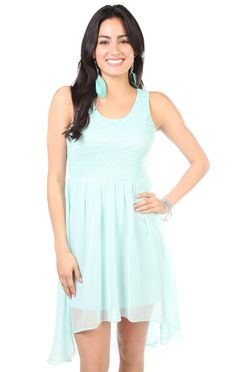 Deb Shops #mint tank strap all over lace high low #dress