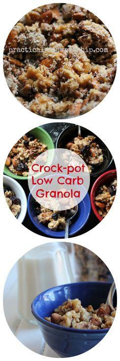 Crock-pot Lower Carb Peanut Butter Granola (No Oats-Gluten-Free)