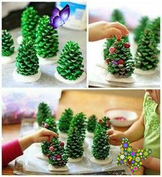 Give pine cones a new purpose These simple luminaries will make your kids smile and light up your home for the holidays.Found on Pinterest here, from Crafts by Amanda.<br> Your kids will enjoy going outside to collect the pine cones for these fun decorations. And, bonus, they're cute enough to use as gifts!Found on Pinterest here.