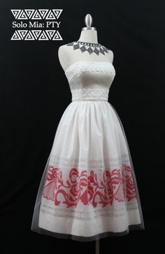 CARMEN-té longitud blanco y rojo falda Pollera Print por Mia2315
