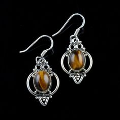 925 Sterling Silver Natural Tiger Eye Gemstone Handmade Earrings Jewelry #Handmade #DropDangle #Party