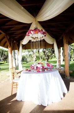 Wedding Reception table decorations - Love the hanging / suspended centerpiece!