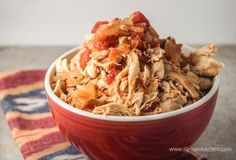 Sunday Slow Cooker:  Chicken Tinga, 200 calories, perfect for tacos, burritos, enchiladas, and more
