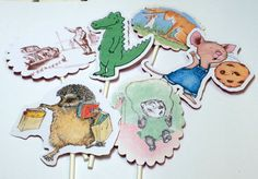 Cupcake Toppers - Story Book,Storybook Baby Shower,Story Book Baby Shower Decoration,Childrens Book Party,Book Theme Baby Shower,Version 3