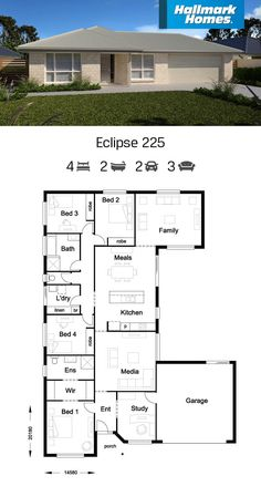 Home Designs & Floor Plans - Single & Double Storey Free House Plans, House Layout Plans, Big Modern Houses, Modern House Plans, Sims House Design, Duplex House Design, 4 Bedroom House Plans, Family House Plans, Home Design Floor Plans
