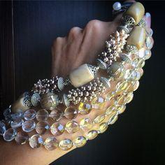 """Купить Браслет """"Слоновая кость"""" - бежевый, ивори, бежевый браслет, светлый браслет, многорядный браслет"""