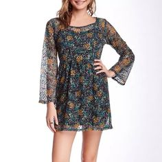 "NWT✨Nordstrom BEBOP bell sleeve printed lace dress Details: - Crew neck - Long sleeves - Sheer printed lace overlay - Fully lined - Approx. 30"" length - Imported Fiber Content: 100% polyester Care: Hand wash Additional Info: Fit: this style fits true to size. BeBop Dresses"