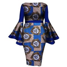 African Women Dress 2017 New Summer Lady Print Wax Dresses Bazin Riche Mid-Calf Africa Sexy Speaker sleeves Dress African Print Dresses, African Dresses For Women, African Wear, African Attire, African Fashion Dresses, Summer Dresses For Women, African Women, Dress Summer, African Style