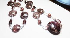 Plum Purple Lampworked Glass Beadwork Necklace by tzteja on Etsy, $23.00  #necklace, #beaded, #purple, #glass, #lampwork, #handmade, #stretch