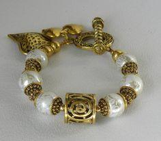 Antique Gold Handmade Beaded Bracelet by bdzzledbeadedjewelry, $36.00