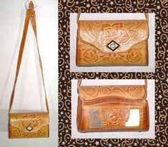 Tooled Genuine Leather Crossbody Messenger Bag Purse Camel Leather Roses Fur Cowgirl Purse Horse Horseshoe Cowhide Hand…