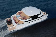 The Flash Cat 67SC design incorporates an open, spacious indoor/outdoor flybridge Catamaran Design, Power Catamaran, Yacht Design, Luxury Houseboats, Luxury Yachts, The Wheelhouse, Cat Activity, Float Your Boat, Below Deck