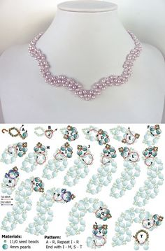 FREE beading pattern for necklace Wavy Pearls
