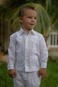 Linen Long Sleeve Guayabera for Boys. White - Cuban Traditional 4 pockets Guayabera for kids. Long Sleeve.