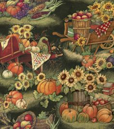 Autumn Inspirations Susan Winget Harvest Scene 2 Fabric Beautiful scene...don't know what I'd do with it....