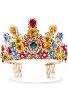 DOLCE & GABBANA Gold-plated Swarovski crystal headpiece