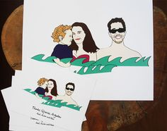 Custom illustrated print of the Dorsky family and a set of thank you note cards for Axel's second birthday party!