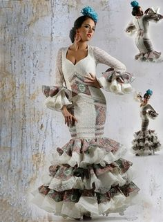 Trajes de Flamenca Alborea Edwardian Dress, Fishtail, Floral, Mermaid, Statue, Trumpet, Bella, Dresses, Art