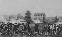This picture represents the battle of Lexington and Concord. This was the first battle of the revolutionary war. British troops destroyed some supplies but minutemen pushed them back to Boston. The first shot was said to be the shot heard 'round the world.