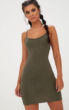 b38bbe62b45 Khaki Strappy Bodycon Dress Robe Moulante