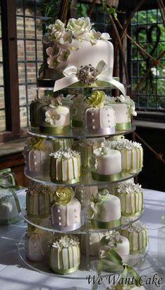 Green and white mini cake tower