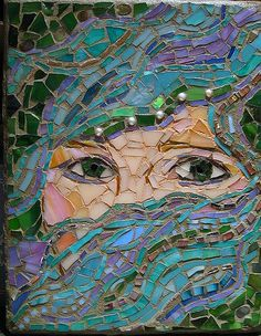 Beautiful mosaic of female face with water hair Mosaic Tile Art, Mosaic Diy, Mosaic Crafts, Mosaic Projects, Mosaic Glass, Art Projects, Mosaic Floors, Mosaic Garden, Garden Art
