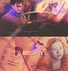 […]after a while Harry found himself taking it [the map] out simply to stare at Ginny's name in the girls' dormitory, wondering whether the intensity with which he gazed at it might break into her sleep, that she would somehow know he was thinking about her, hoping that she was alright.
