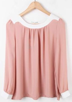 Pink Long Sleeve Contrast Trims Pleated Chiffon Blouse >> Ever since I was a little girl in ballet class, I have loved this color pink!