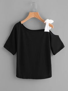 SheIn offers Asymmetrical Bow Tie Shoulder Tee & more to fit your fashionable needs. Girls Fashion Clothes, Teen Fashion Outfits, Trendy Fashion, Girl Fashion, Fashion Dresses, Young Fashion, Fashion Black, Fashion Ideas, Vintage Fashion
