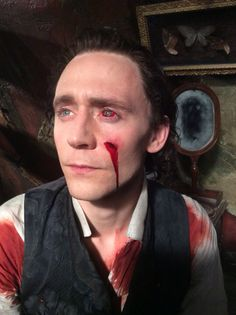 Tom Hiddleston in full makeup for Crimson Peak as Thomas Sharpe.