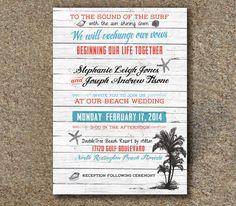 On the Beach Destination Wedding Invitation by CourtneyJonesDesign, $40.00