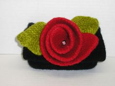 Evening Bag Hand Knit Clutch Purse Felted Clutch Bag Small Black and Red Evening Bag Knitted Clutch Bag Clutch Purse Custom Order Purses by LooptheLoop on Etsy