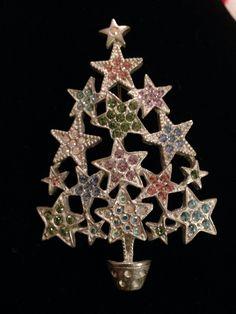 Kirks Folly Starry Night Christmas Tree #2 ((silver stars  w/rhinestones)