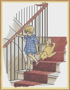 Winnie The Pooh - The Stairs Counted Cross Stitch pattern, $6.00 (Milne, Children, Kids, Book, Literature, Classic)