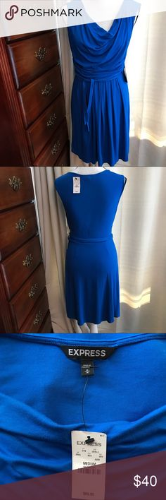 "Royal blue dress👗👗 Lovely blue dress by EXPRESS.   36"" long from Shoulder down.  Armpit to armpit is 20-21"" & stretchy.  Fully lined dress 💙💙.             Dress#120530 Express Dresses Midi"