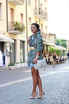 *I love this military jacket with the gold leaf belt!* FashionHippieLoves: my favourite vacation outfit in Italy